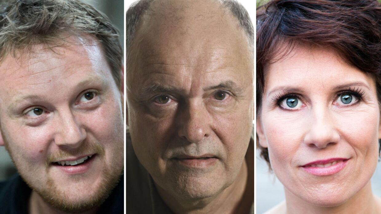 Jacob Weble (tv.) og Mia Lyhne er triste over tabet af skuespilkollegaen Niels Weyde (midt), der onsdag den 12. juli sov stille ind efter længere tids sygdom - 72 år gammel. De tre spillede sammen i tv-serien 'Klovn'.