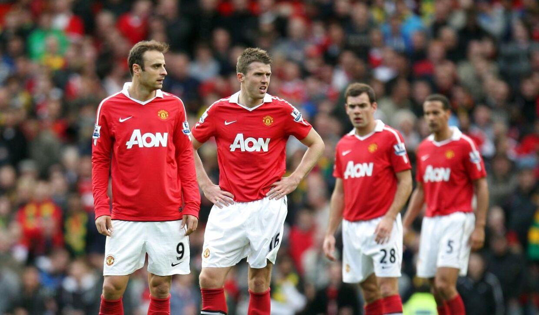 Darron Gibson (nummer to fra højre) spillede i Manchester United fra 2005 til 2012.
