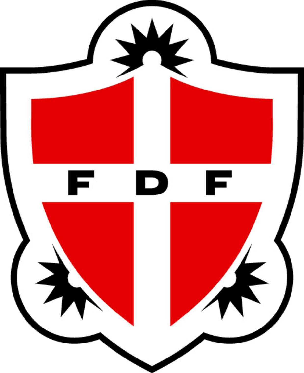 FDFs logo, der bliver kaldt nationalistisk.