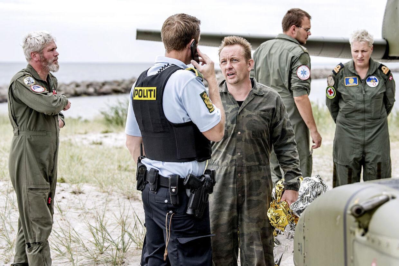 Ubådskaptajn Peter Madsen reddet i land i Dragør Havn fredag d. 11. august 2017, efter en større redningsaktion ud for Københavns Havn. (Foto: Bax Lindhardt/Scanpix 2017)