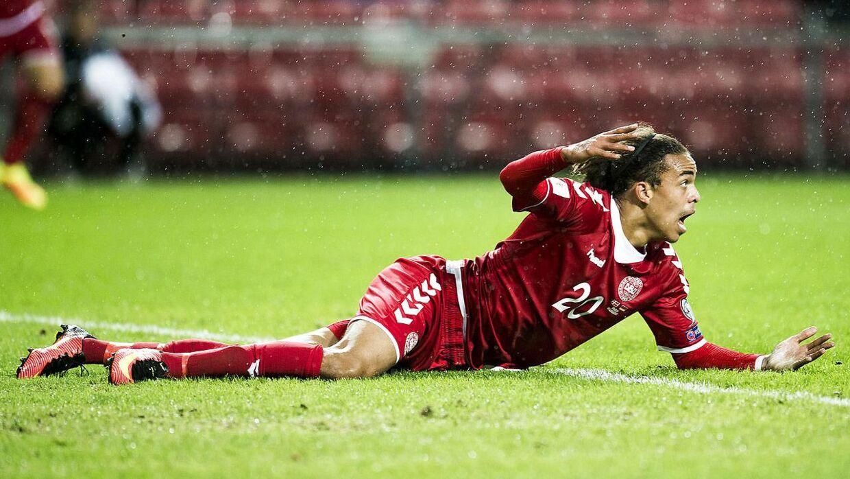 Yussuf Poulsen. Danmark mod Armenien i Parken.