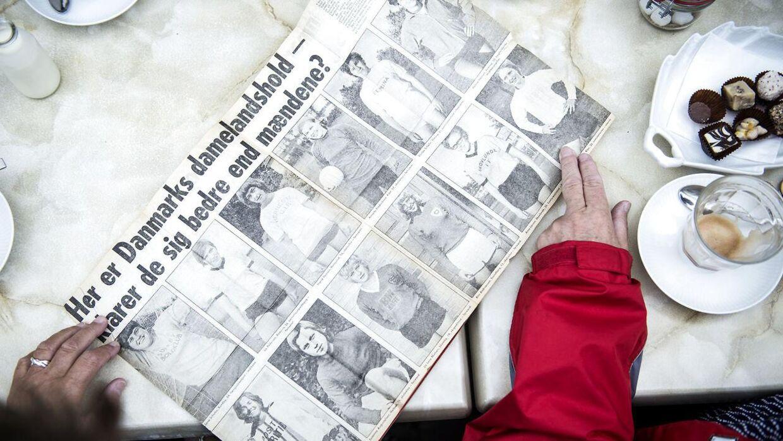 Udklip fra avisen i 1971, hvor det danske kvindelandshold blev verdensmestre.