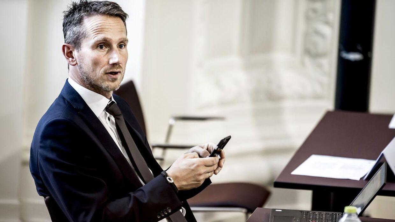 Finansminister Kristian Jensen (V) under møde i Landstingssalen på Christiansborg i København torsdag den 7. september 2017, hvor første behandling af finansloven for 2018 er på dagsordenen. Regeringens forslag til en finanslov for 2018 blev fremlagt 31. august.. (Foto: Mads Claus Rasmussen/Scanpix 2017)