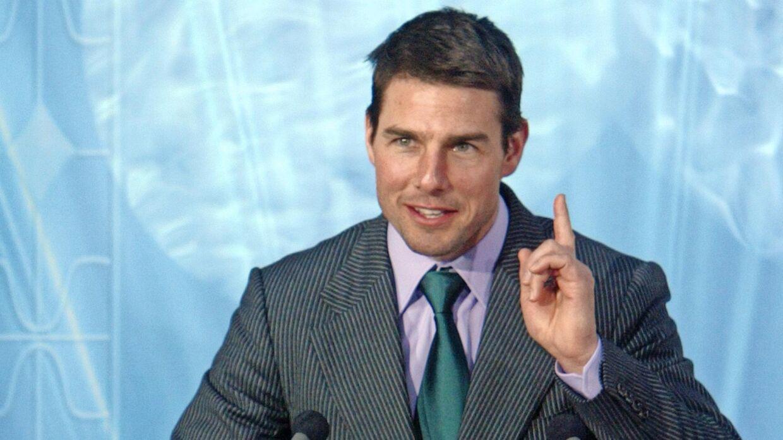 Tom Cruise taler ved en 'Scientology'-konference. Leah Remini kalder ham 'djævelsk'. Foto: AFP