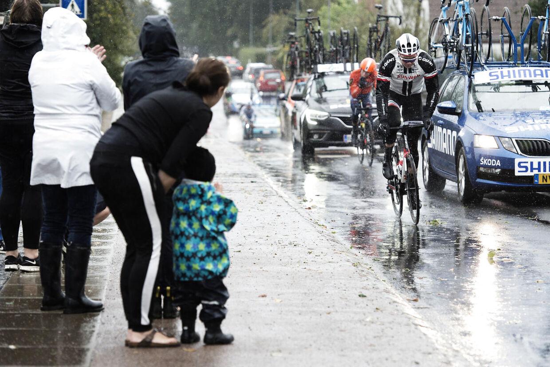 PostNord Danmark rundt med etapestart i Svendborg var hårdt ramt af regn og blæst. Foto: Katrine Becher Damkjær