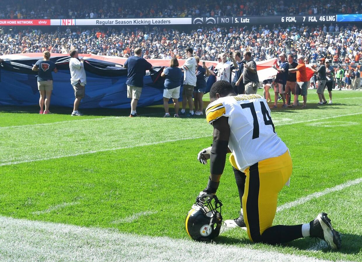 Sep 24, 2017; Chicago, IL, USA; Pittsburgh Steelers offensive tackle Chris Hubbard (74) takes a knee before the game against the Chicago Bears at Soldier Field. Mandatory Credit: Mike DiNovo-USA TODAY Sports