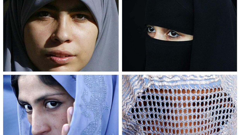 Kvinder iført niqab (øverst til højre) og burka (nederst til højre) skal kun have kontanthjælp, hvis de fjerner sløret, mener Socialdemokratiet.