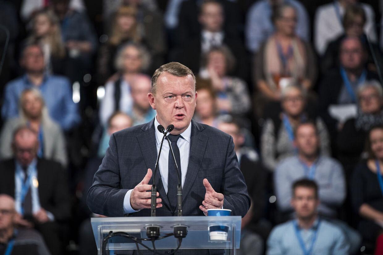 Statminister Lars Løkke under sin tale.