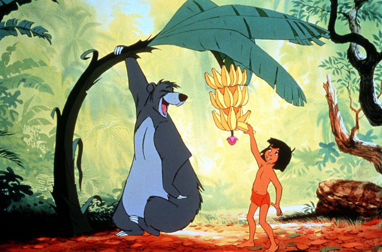 Scene fra 'Junglebogen', hvor Baloo synger klassikeren 'Det rent og skært nødvendige'