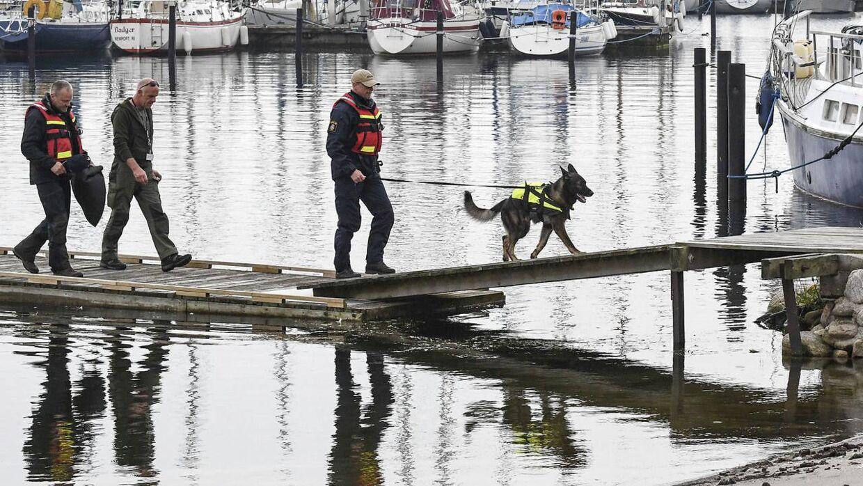 Svensk politi med hunde eftersøge i Køge Bugt.