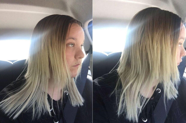langt hår klippet i spids