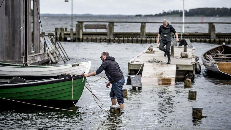 Stormen Ingolf truer Roskilde Havn og Vikingeskibsmuseet i Roskilde lørdag den 28. oktober 2017.