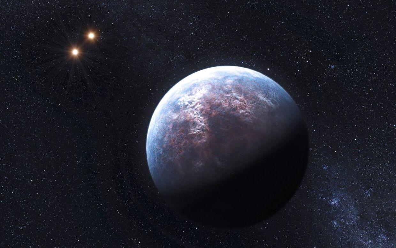 En kunstner har forsøgt at forestille sig, hvordan en exoplanet ser ud.