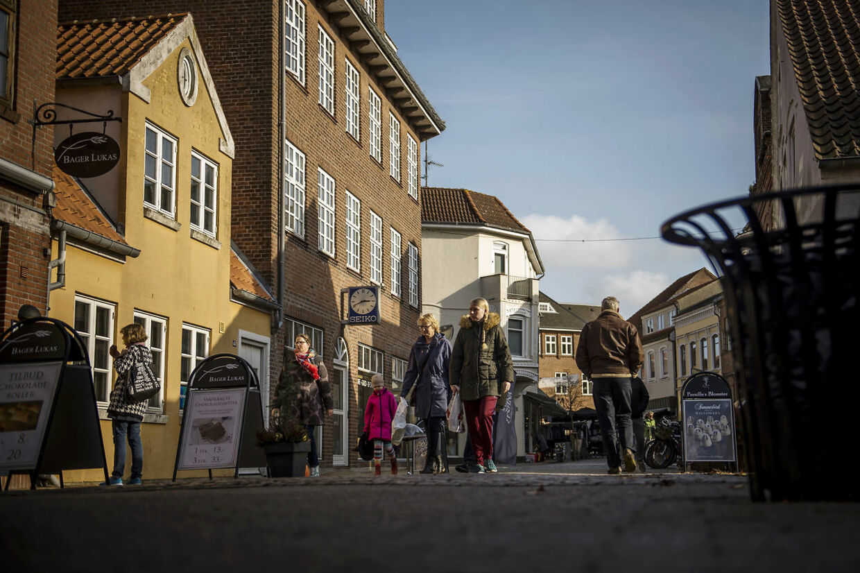 Gågaden i Tønder. Tønder er Danmarks ældste købstad.