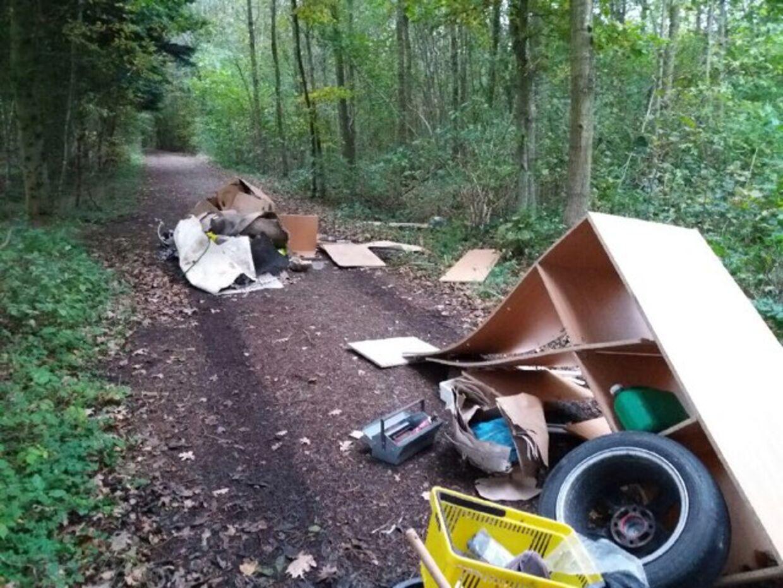 Affald over alt på skovstien var, hvad der mødte skovgæsterne fredag morgen.