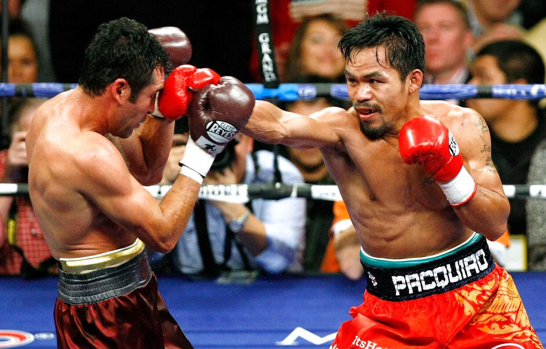 Oscar De La Hoya tabte til Manny Pacquiao i 2008. Ethan Miller/Getty Images/AFP
