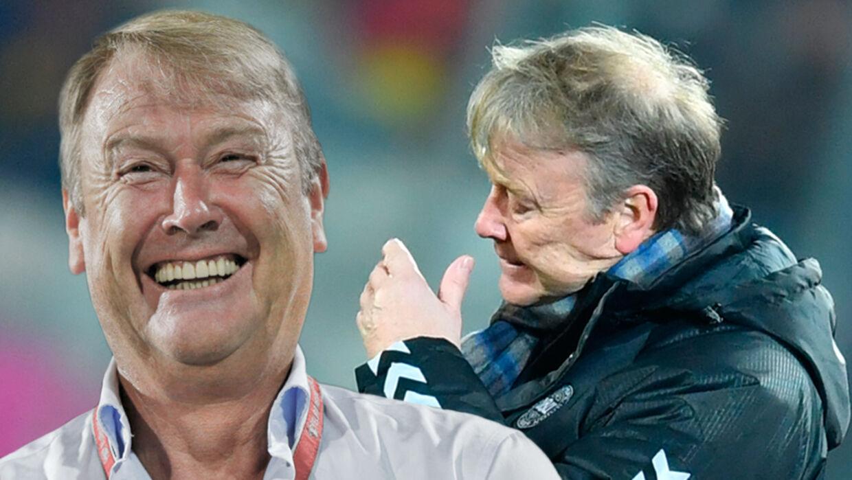 Sådan kan tirsdag aften ende for Åge Hareide. Enten har landstræneren et stort smil på - eller også....