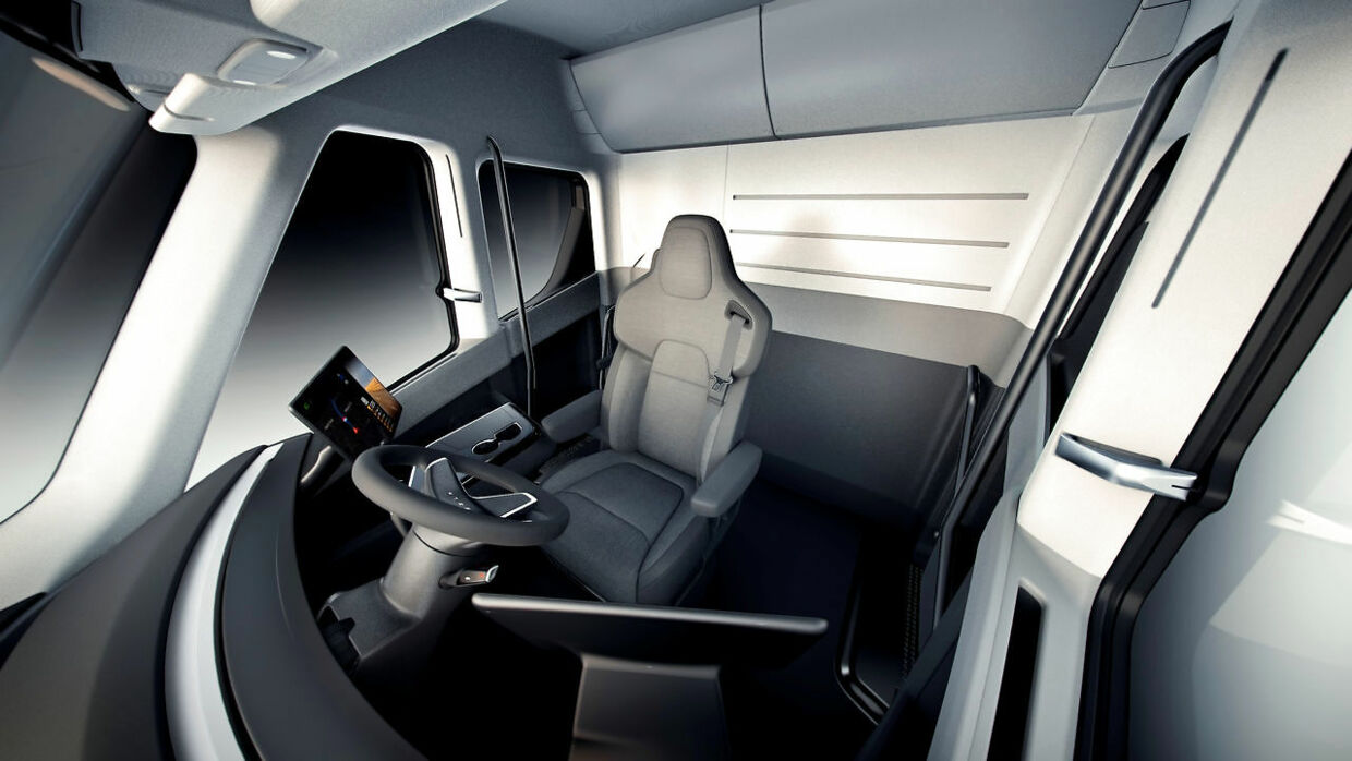 An interior view of the Tesla Semi, the company's electric big-rig truck, is seen in this undated handout image released on November 16, 2017. Tesla/Handout via REUTERS ATTENTION EDITORS - THIS IMAGE WAS PROVIDED BY A THIRD PARTY.NO RESALES.NO ARCHIVE.