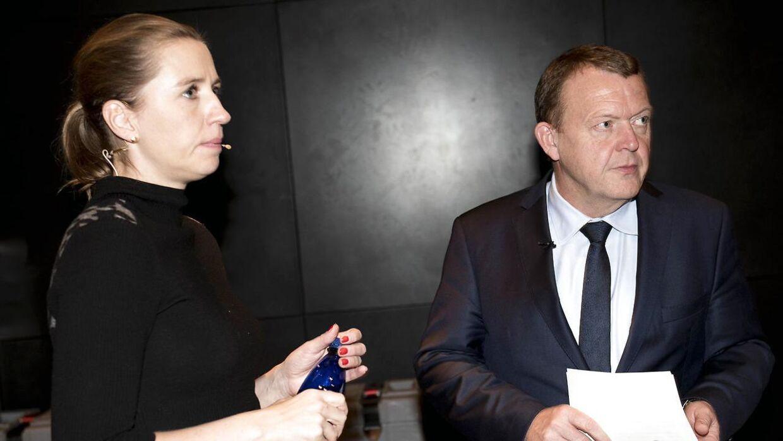 Arkivfoto af statsminister Lars Løkke Rasmussen og Mette Frederiksen.
