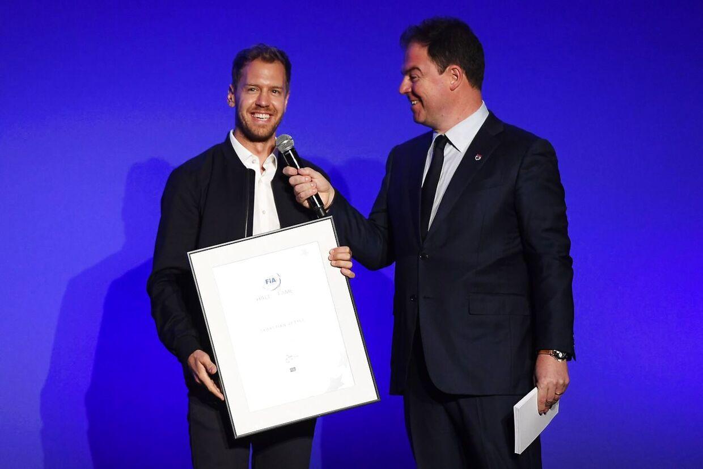 Sebastian Vettel (tv.) er med optaget i Hall of Fame.