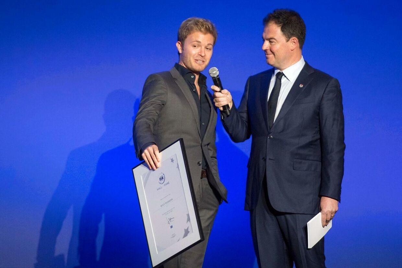 Nico Rosberg (tv.) er optaget i Hall of Fame.