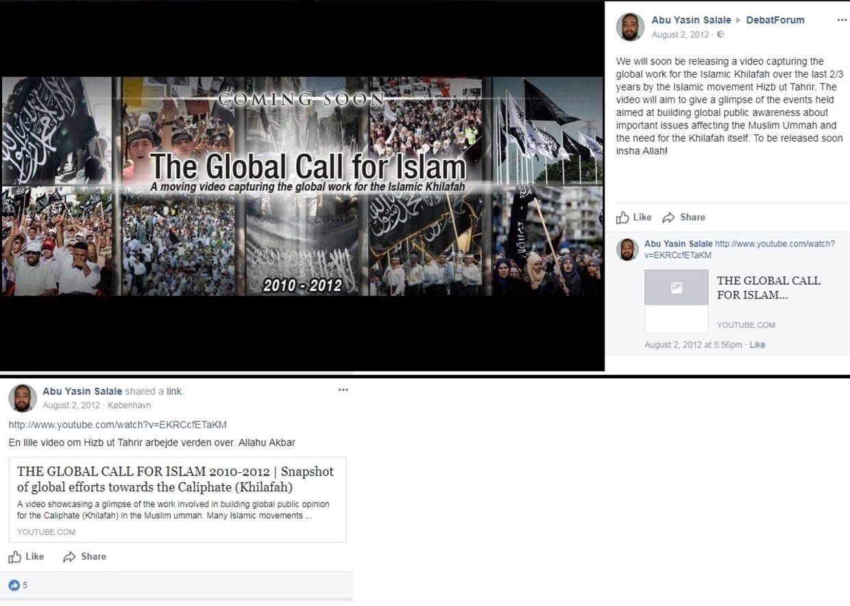 Skoleleder Ahmad Salale, der på Facebook hedder Abu Yasin Salale, har spredt videoer fra Hizb Ut-Tahrir i forskellige grupper på det sociale medie.