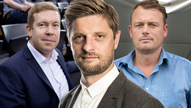 BTs sportschef, Morten Crone Sejersbøl, reagerer herunder på udtalelser fra DHFs sportschef, Morten Henriksen (tv.), og AGFs direktør, Jacob Nielsen (th.).