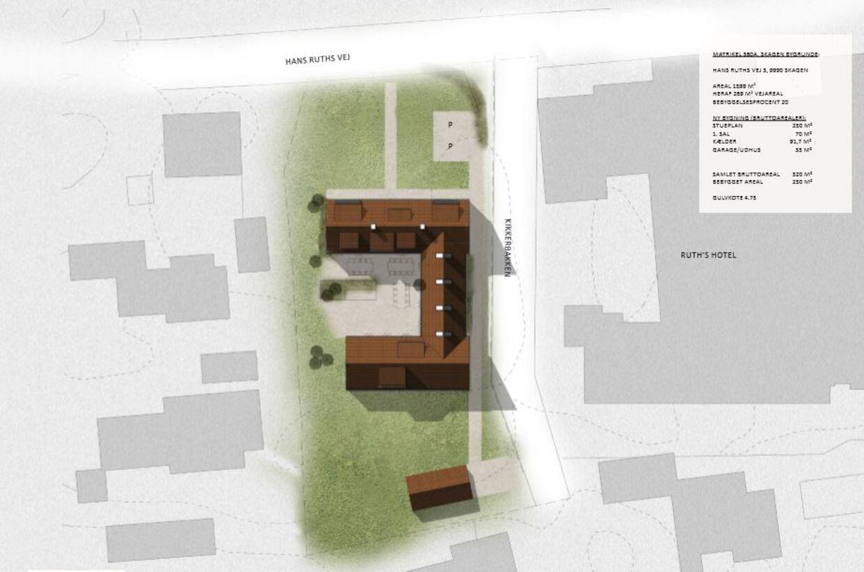 Tegning af den bolig, lensgreven ønsker opført i Gammel Skagen