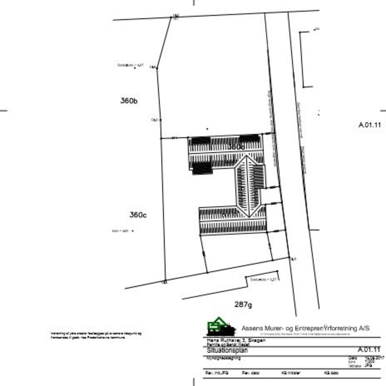 Huset skal ifølge denne tegning ligge på den ene af de to grunde, som lensgreven har købt.