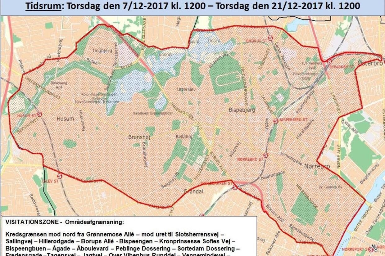 Københavns Politi har torsdag valgt at forlænge visitationszonen (billede) med to uger. Free/Københavns Politi