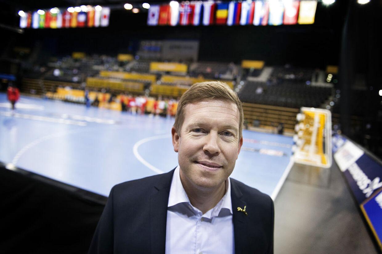 DHFs sportschef Morten Henriksen i EWE Arena i Oldenburg, Tyskland onsdag 6. december 2017. (Foto: Liselotte Sabroe/Scanpix 2017)