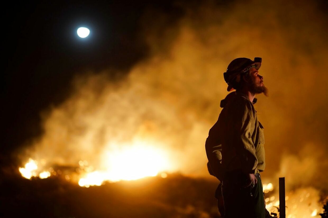 A firefighter watches the fire line at the Lilac fire in Bonsall, California on December 7, 2017. Local emergency officials warned of powerful winds on December 7 that will feed wildfires raging in Los Angeles, threatening multi-million dollar mansions with blazes that have already forced more than 200, 000 people to flee. / AFP PHOTO / Sandy Huffaker