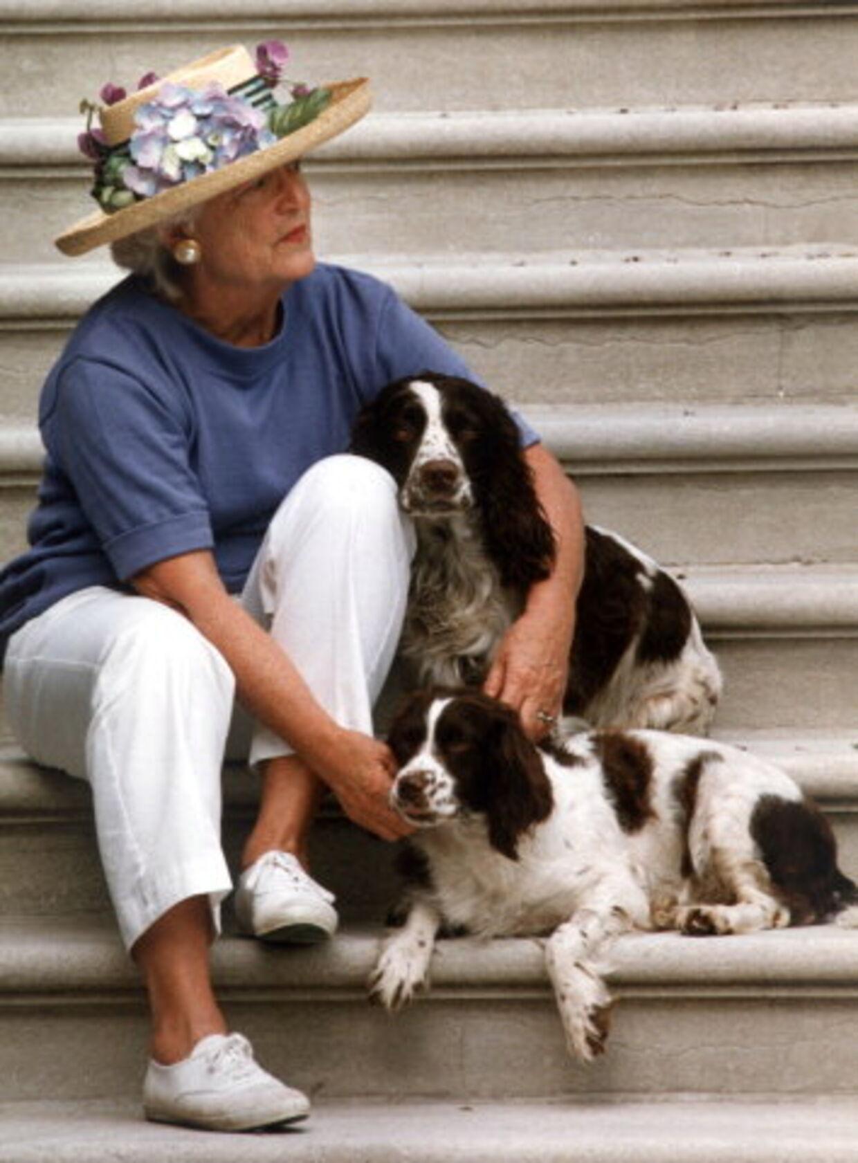 Præsidentfruen sidder sammen med hundene Millie og Ranger og venter på at præsidenten kommer hjem.