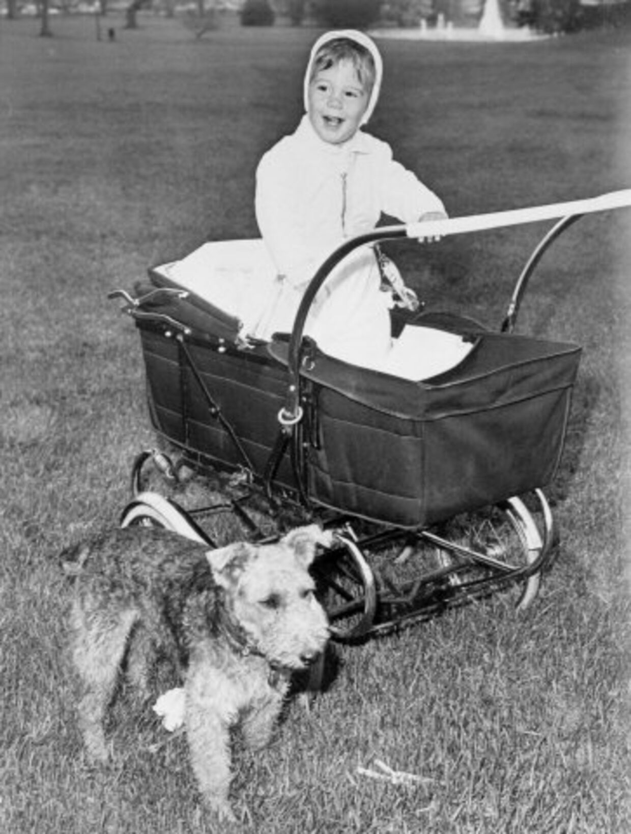 Et år gamle John F. Kennedy Jr., søn af president John F. Kennedy, sammen med familiens hund.