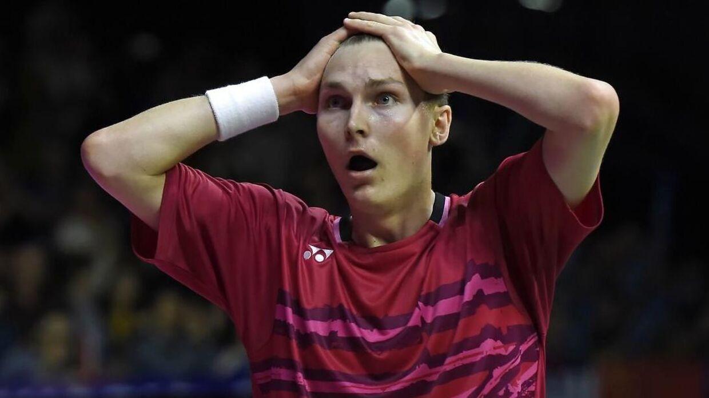 Viktor Axelsen hentede det første danske VM-guld i badminton i otte år, da han i finalen i herresingle besejrede Kinas femfoldige verdensmester, Lin Dan. (Foto: ANDY BUCHANAN/Scanpix 2017)