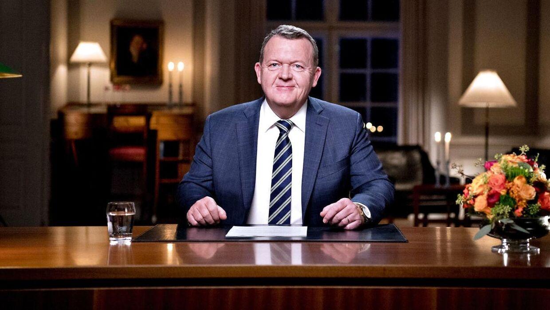 Statsminister Lars Løkke Rasmussen holder nytårstale i Statsministeriet 1. januar 2018.