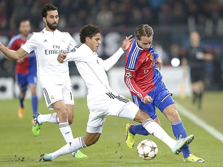 Raphael Varane i aktion for Real Madrid i Champions League.