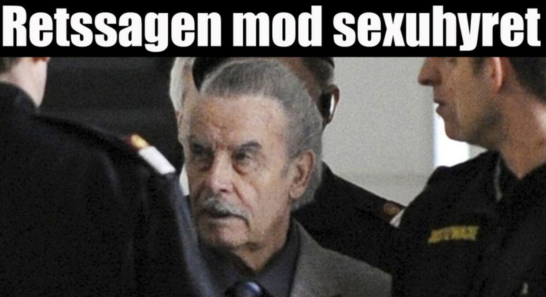 Josef Fritzl på vej til retten.