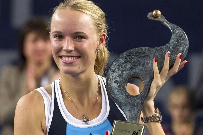 Så glad var Caroline Wozniacki, da hun i oktober 2013 vandt sin foreløbig sidste titel på WTA Touren i Luxembourg.