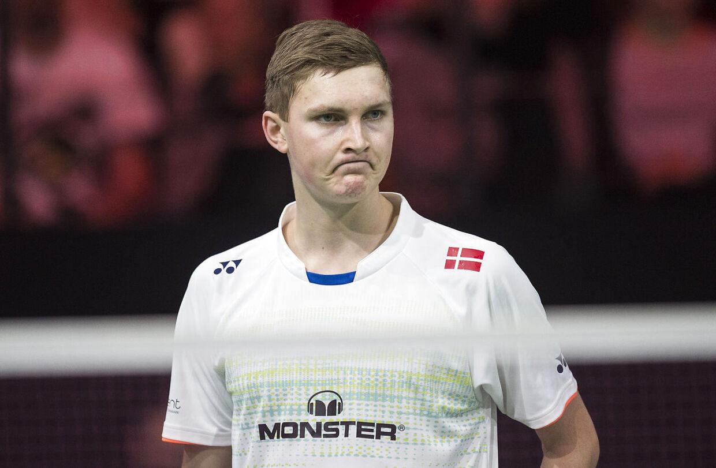 Viktor Axelsen måtte se sig slået af verdens nummer et, Chen Long. Billedet er fra Denmark Open.