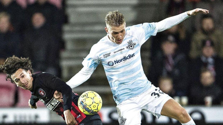 Søren Henriksen i aktion mod FC Midtjylland i Superligaen. (Foto: Henning Bagger/Scanpix 2017)