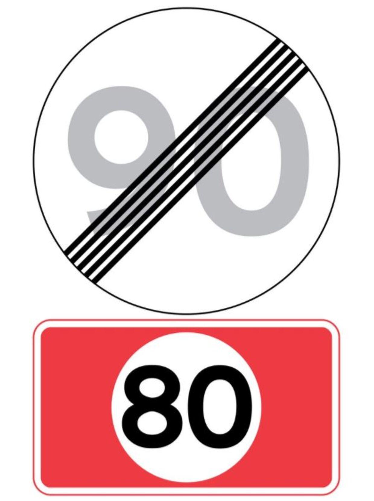 Sådan ser den nye tavle ud. Den skal gøre bilister opmærksom på, at den forægede hastighedsgrænse på en udvalgt strækning ikke længere gælder.