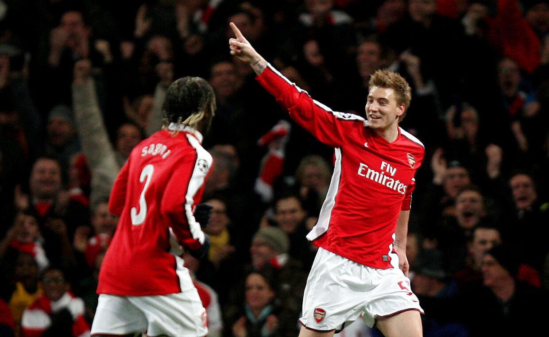 Nicklas Bendtner jubler i en Champions League-kamp for Arsenal mod Porto i 2010, hvor han scorede tre mål. Han var 22 år gammel