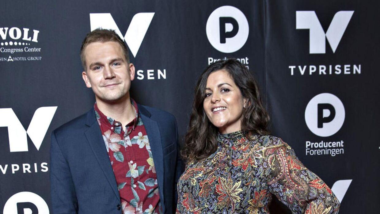Petra Nagel og kæreste ankommer til Tvprisen, prisuddelingen der hædrer den danske tv-branche. (Foto: Jens Nørgaard Larsen/Scanpix 2018)