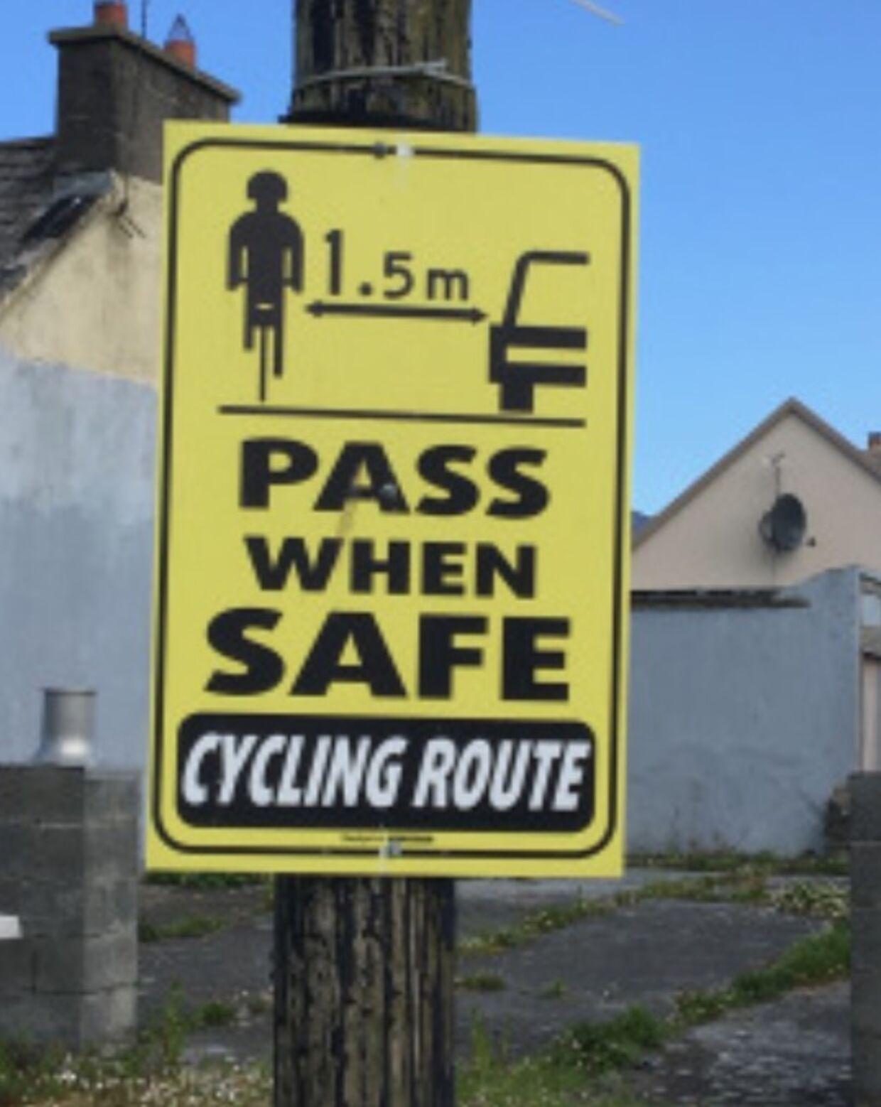 Bilisterne bliver mindet om, at der skal vises hensyn til cyklisterne.