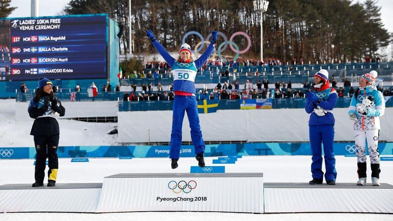 Der var ikek ligefrem fyldt på tribunerne, da norske Ragnhild Haga fejrede sin OL-guldmedalje i langrend.