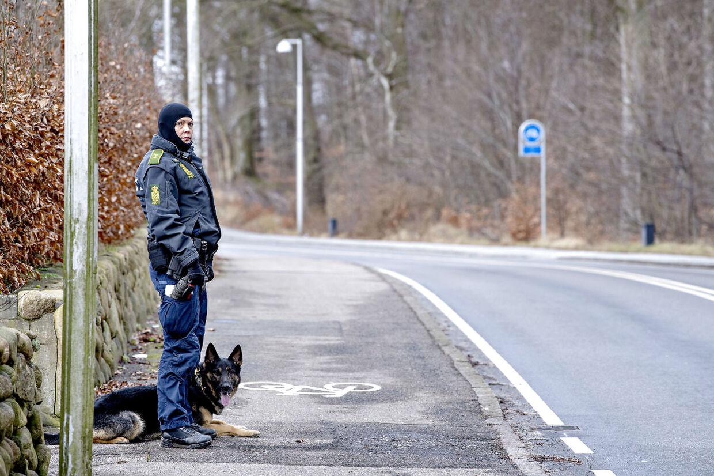 Betjent med hund ved Bidstrupvej i Birkerød, søndag den 18. februar 2018. Politiet har iværksat en en større menneskejagt, søndag den 18. februar 2018, efter en øksemand umotiveret overfaldt et 19-årigt par på Circle K-stationen på Bidstrupvej i Birkerød. (Foto: Bax Lindhardt/Scanpix 2018)