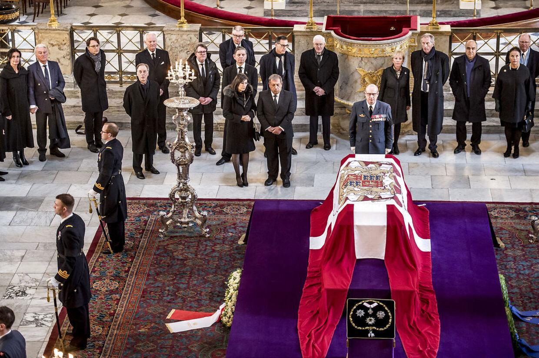 Castrum Doloris for særligt indbudte gæster i Christiansborg Slotskirke, mandag den 19. februar 2018. Prins Henrik sov stille ind på Fredensborg Slot, tirsdag den 13. februar 2018.
