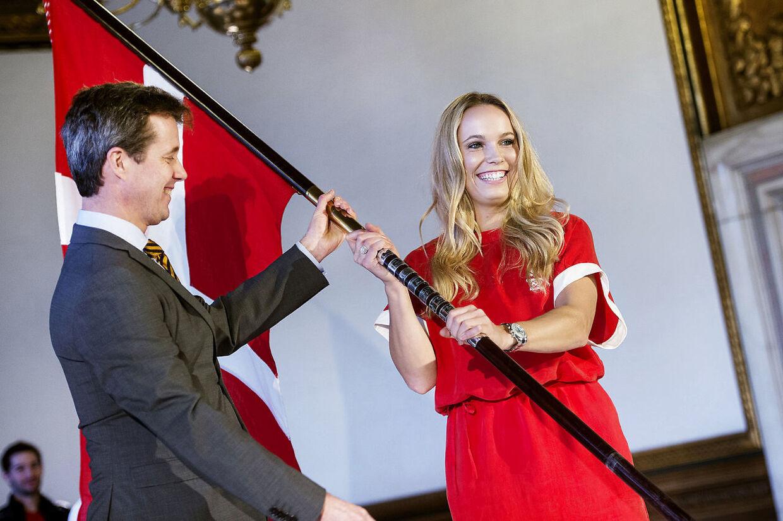 Caroline Wozniacki og kronprins Frederik i selskab med hinanden, da førstnævnte i 2016 blev præsenteret som Danmarks fanebærer ved OL 2016 i Rio de Janeiro.