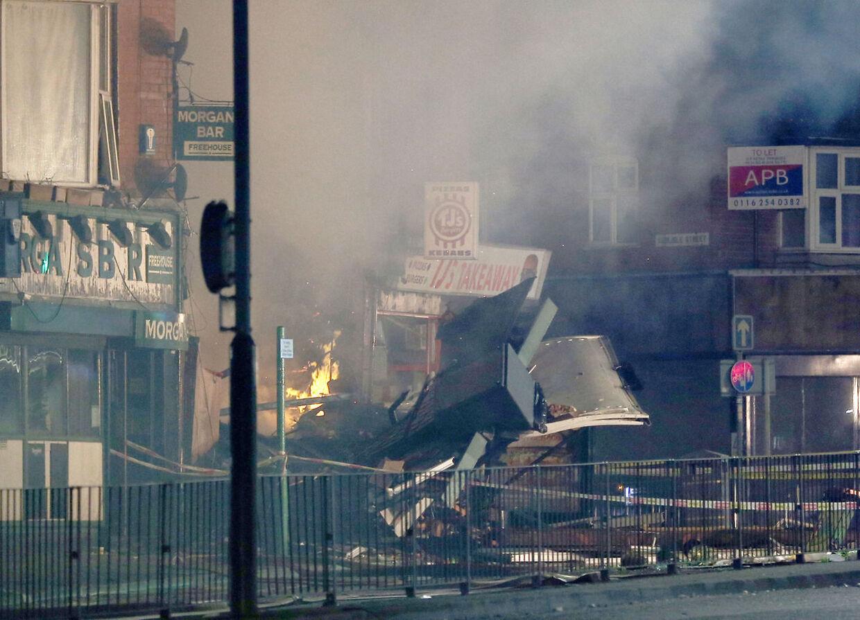 Hinckley Road i Leicester efter eksplosionen søndag aften.